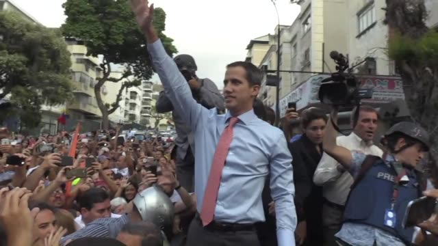 opposition leader juan guaido arrives at a protest in caracas on the fifth day of a crippling power blackout as the government of president nicolas... - sabotage stock videos & royalty-free footage