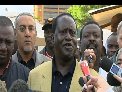 opposition leader raila odinga tells press that 'democracy is under seige' in following results of presidential elections kenya 1 january 2009 - raila odinga stock videos and b-roll footage