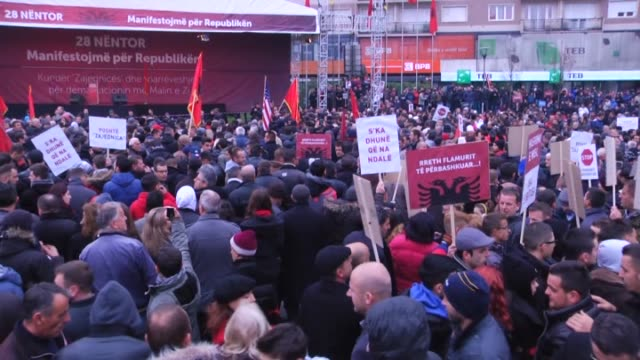 opposition parties of kosovo stage an antigovernment protest at zahir pajaziti square in pristina kosovo on november 28 same day with the neighboring... - pristina stock videos and b-roll footage
