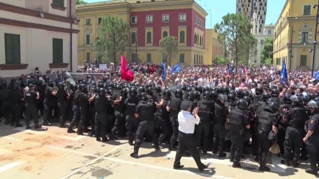 opposition supporters protest in tirana with clashes erupting between demonstrators and police - tirana stock videos & royalty-free footage