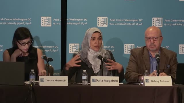 various shots from a conference hosted by arab center washington dc on october 25 2017 in washington dc negative attitude toward the us foreign... - lebanon country stock videos & royalty-free footage