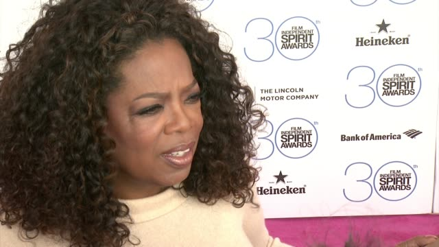 interview oprah winfrey on selma at piaget at the 2015 film independent spirit awards in los angeles ca - oprah winfrey stock videos & royalty-free footage