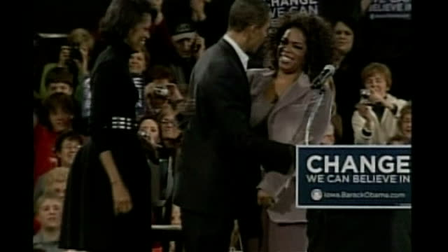 oprah winfrey on stage at rally with barack obama and making speech sot - oprah winfrey stock videos & royalty-free footage