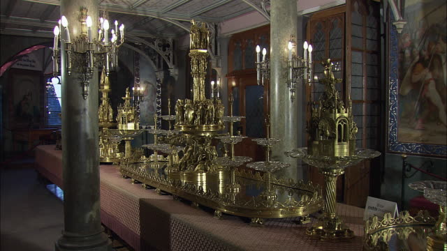 ms opulent room in hohenschwangau castle, bavaria, germany - gothic style stock videos & royalty-free footage