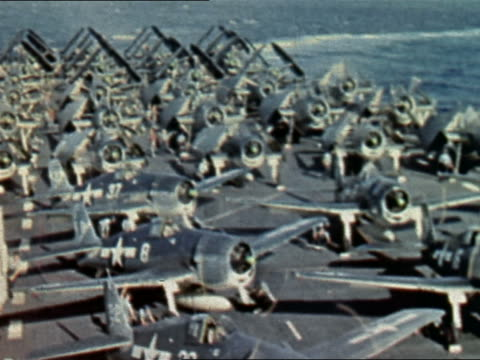 1943 or 1944 WWII F6F Hellcats warmingup on deck of USS Yorktown / Pacific Theater