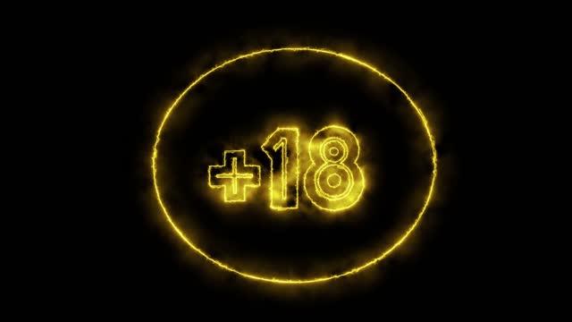 +18 oder über 18 jahre content warnung in neon retro glowing look stockvideo - content stock-videos und b-roll-filmmaterial