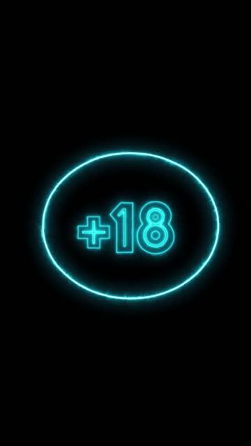 +18 oder über 18 jahre inhaltswarnung im neon retro glowing look stock video - content stock-videos und b-roll-filmmaterial