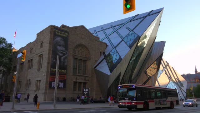 rom or royal ontario museum during daytime in toronto,canada - ontario canada stock videos and b-roll footage