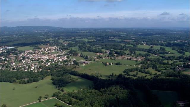 oradur-sur- glane - aerial view - aquitaine, dordogne, arrondissement de sarlat-la-canéda, france - aquitaine stock videos and b-roll footage