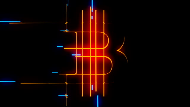 Orange and blue lines forming Bitcoin sign loop