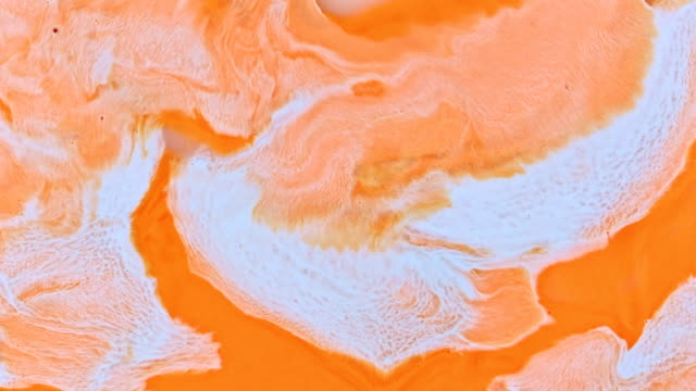 orange and white creamsicle 1 vibrant bright paint and oil color swirls entropy - raw milk stock videos & royalty-free footage