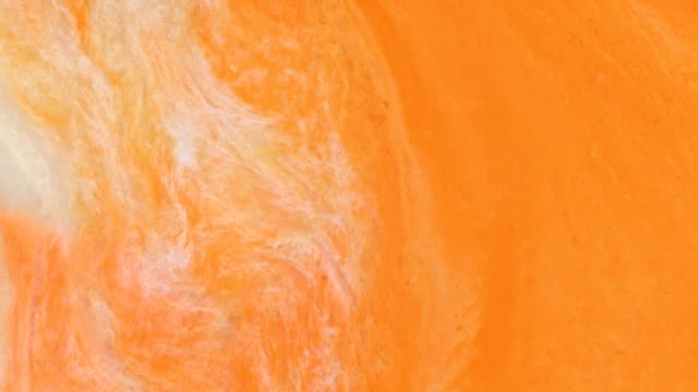 orange and white creamsicle 5 vibrant bright paint and oil color swirls entropy - raw milk stock videos & royalty-free footage