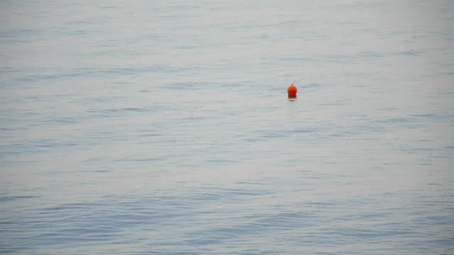 vídeos de stock, filmes e b-roll de bóia de laranja em um calmo mar de superfície - boia equipamento marítimo de segurança