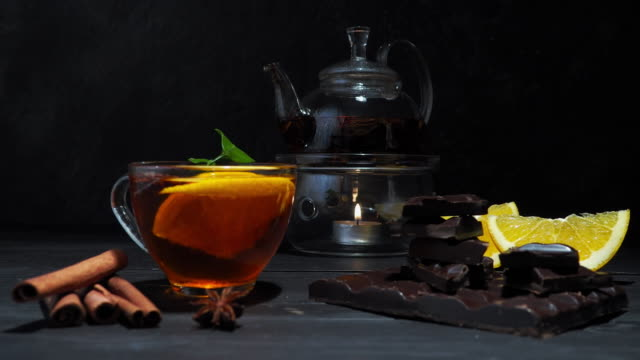 orange, chocolate and tea - tea cup stock videos and b-roll footage