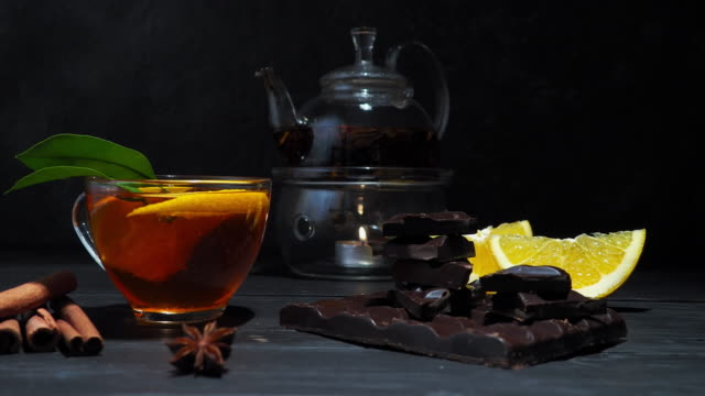 Orange, chocolate and tea