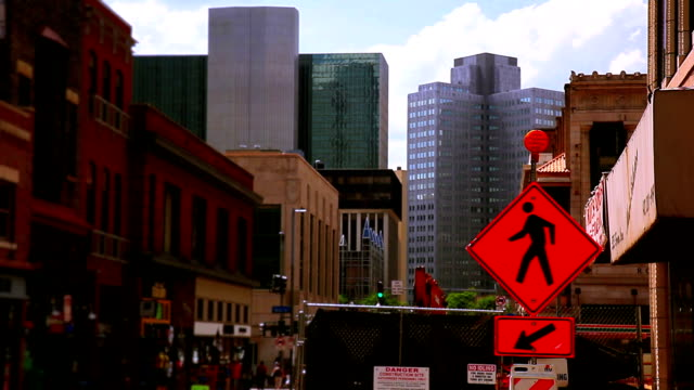 orange detour sign on the city street - pittsburgh stock videos & royalty-free footage