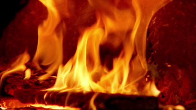 orange extreme close up fire in brick oven / provence, france - hearth oven stock videos & royalty-free footage