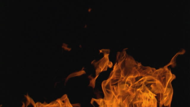 slo mo cu orange flames rising against black background / oregon, usa - 炎点の映像素材/bロール