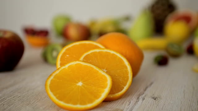 orange fruit,dolly shoot-close up - ascorbic acid stock videos & royalty-free footage