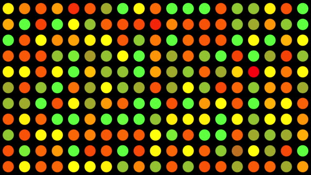 Orange Green Red Yellow Multicoloured Circles Music Video Background - Grid of Dots with Random Generative Effect on Black Background