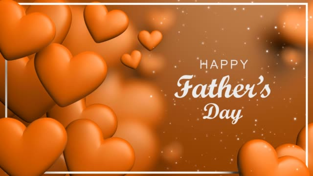 orange happy father's day concept with dinamic hearts - fathers day stock videos & royalty-free footage