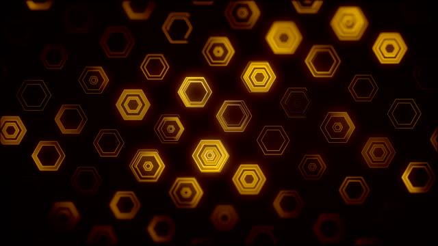 orange hexagon background (loopable) - yellow background stock videos and b-roll footage