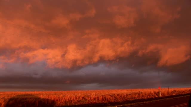Orange hued clouds drift over golden wheat fields