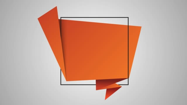vidéos et rushes de 4k orange tag tag speech bubble animation with green and white background stock vidéo - origami
