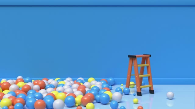 orange ladder blue room abstract motion 3d rendering colorful ball/sphere rolling - steps and staircases stock videos & royalty-free footage