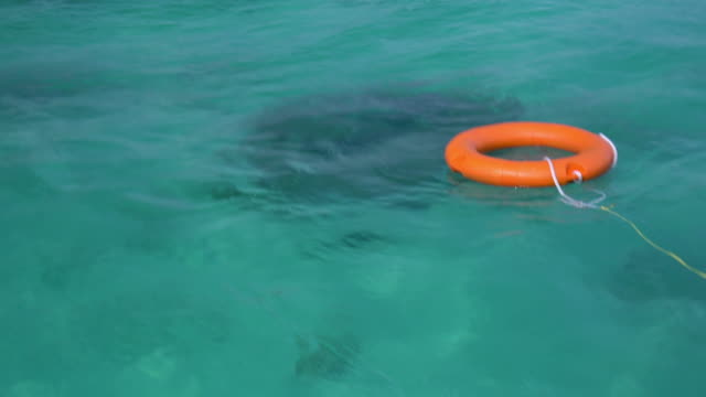 orange life ring is floating on sea - life belt stock videos & royalty-free footage