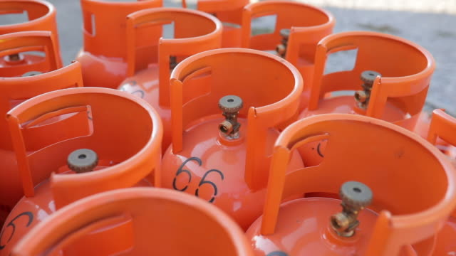 orange lpg tanks - flammable stock videos & royalty-free footage