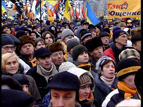 general views from kiev street protests more of crowds / petro poroshenko speech sot / petro poroshenko interview sot - 2004 stock videos and b-roll footage