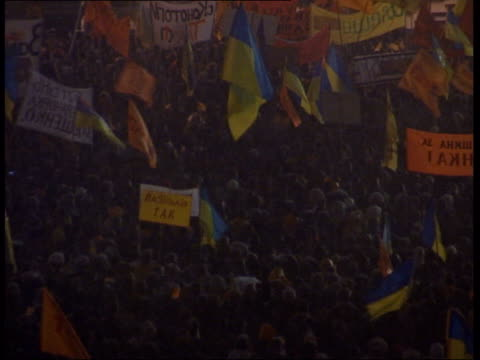 general views from kiev street protests; music playing / crowds waving flags - ukraine stock videos & royalty-free footage