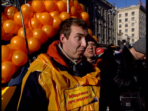 Protesters in Independence Square VOX POPS / more shots of tent village