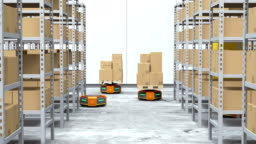 Orange robot carriers carrying goods in modern warehouse