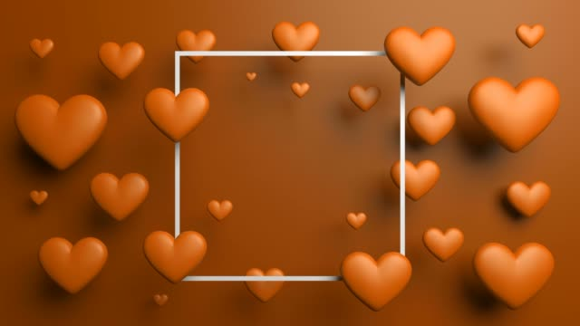 orange shiny looped hearts with frame - poster template stock videos and b-roll footage