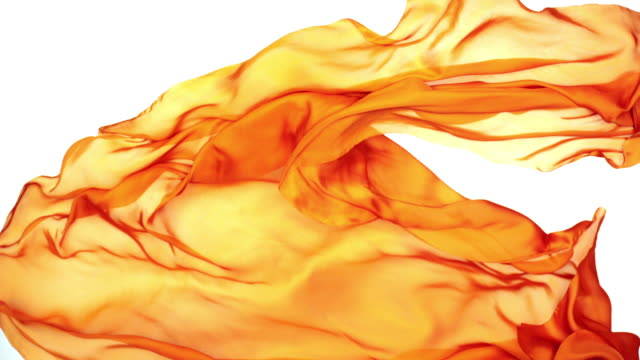 orange silky fabric flowing and waving horizontally in super slow motion and close up, white background - orange stock videos & royalty-free footage