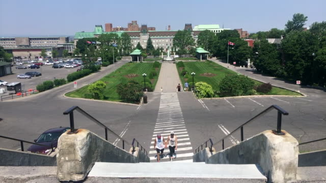 oratory saint joseph gardens. point of view from upper floors towards the notre dame catholic college, montreal,province of quebec, canada - pedal pushers stock videos & royalty-free footage