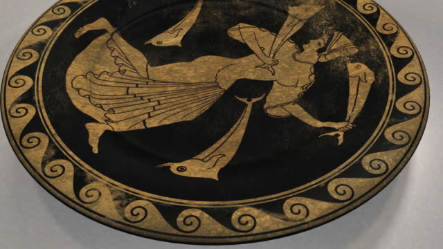Orbit around an ancient Greek plate decorated with a painting of Thetis
