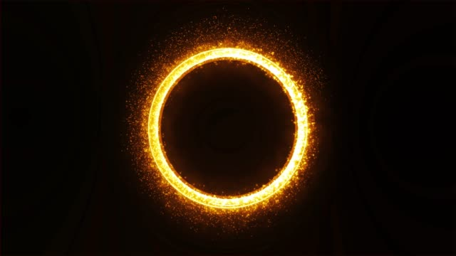 orbit gold metal ring with glitter and smoke. - metal blend stock videos and b-roll footage