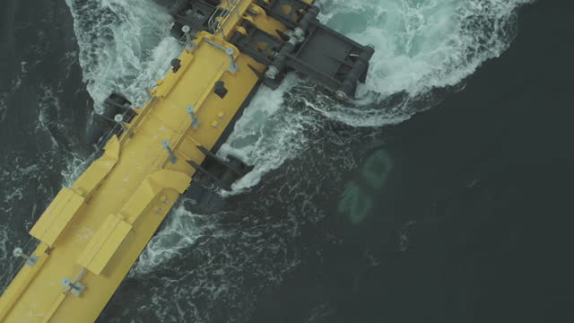 """orbital marine power tidal turbine, connected to the electricity grid off the coast of orkney, scotland, a source of renewable energy - """"bbc news"""" stock videos & royalty-free footage"""