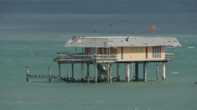 orbital shot of a stilt house in stiltsville in miami - stilts stock videos and b-roll footage