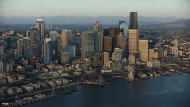orbital shot of downtown seattle - smith tower stock videos & royalty-free footage