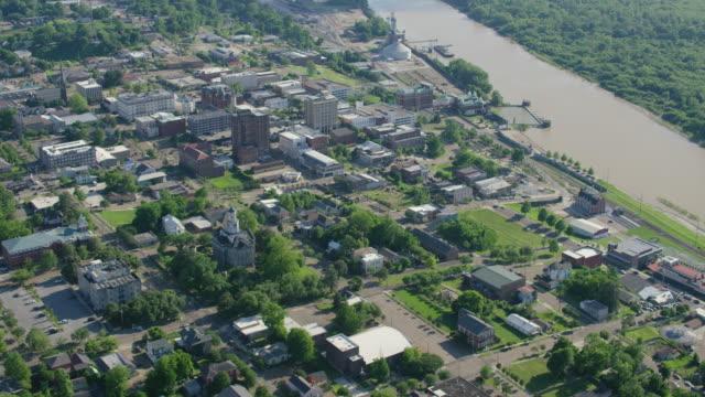 orbital shot of downtown vicksburg near yazoo river - river mississippi stock videos & royalty-free footage