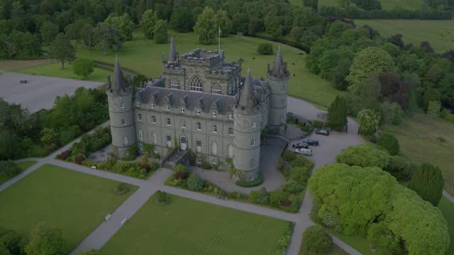 orbital shot of inveraray castle - pasture stock videos & royalty-free footage