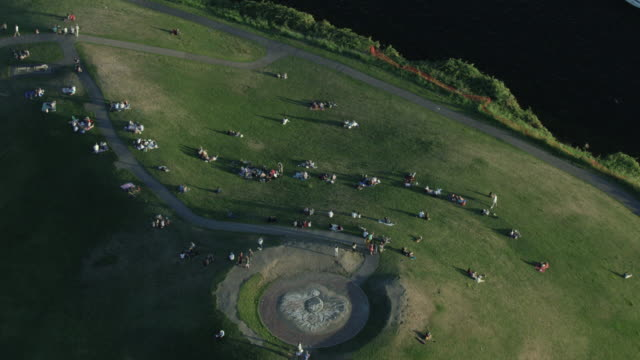 orbital shot of kite hill at the gas works park - seattle stock videos & royalty-free footage