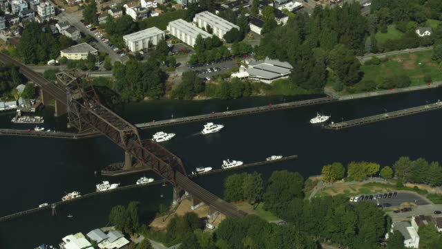 Orbital shot of private boats entering the channels of Ballard Locks