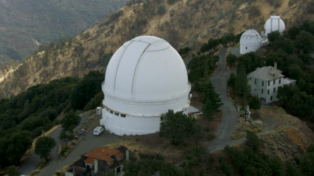 orbital shot of the c. donald shane dome telescope at lick observatory - san jose california stock videos & royalty-free footage