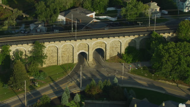 orbital shot of the canton viaduct at sunset - pull out camera movement stock videos & royalty-free footage