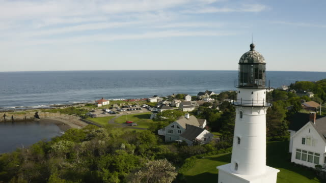 orbital shot of the cape elizabeth lights - new england usa stock videos & royalty-free footage